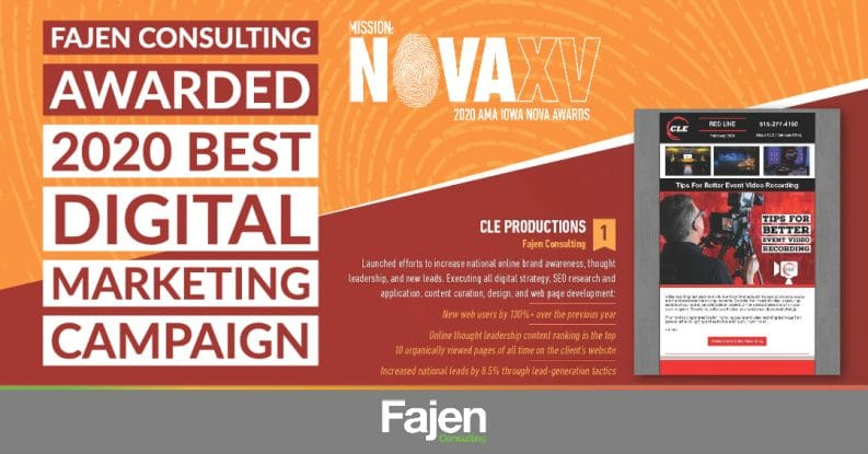 Best Digital Marketing Campaign Award for Fajen Consulting